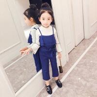 吊带裤子春季吊带洋气三件套装 儿童装2018新款韩版中大女童牛仔