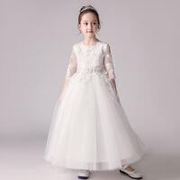 儿童礼服公主裙女孩婚纱蓬蓬裙钢琴演出服主持人晚礼服长袖春夏季