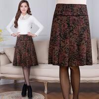 秋冬中老年妈妈半身裙短裙半裙中裙中长款印花大码女装半身裙子