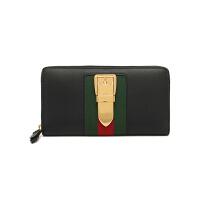 【网易考拉】GUCCI 古驰 Sylvie女士黑色牛皮全拉链式皮夹钱包手拿包