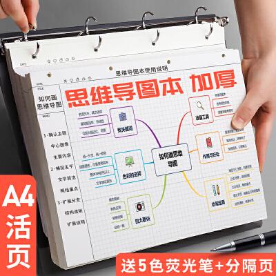 a4思维导图专用笔记本子活页夹装订小方格康奈尔考研阅读框架网格小学生做手绘画用的横式四维导图纸空白大号 思维导图笔记本 买就送5色荧光笔