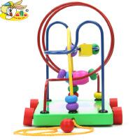 幼得乐拖拉学步拖车绕珠串珠宝宝儿童早教益智玩具拖车绕珠迷宫