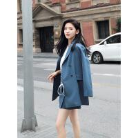小西装套装女2018春秋季新款时尚两件套长袖休闲韩版chic西服外套 蓝色