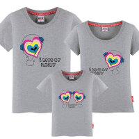 大码短袖T恤一家三口亲子装夏装2018款全家庭母子母女