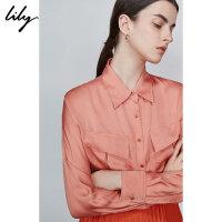 Lily2019秋新款女装气质工装宽松直筒通勤口袋长袖衬衫女4946
