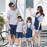 短袖全家装一家三口装母女母子条纹套装春装亲子装夏装