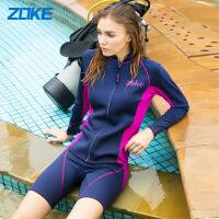 【满300-100元】zoke洲克分体泳衣女平角裤保守温泉显瘦遮肚子长袖防寒保暖游泳衣