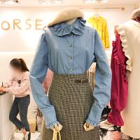 韩国ulzzang2018春新款花瓣领单排扣上衣木耳边衬衫袖衬衣女上衣
