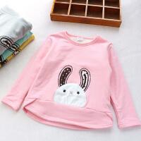 女童加绒卫衣秋冬新款中长款T恤卡通小兔绒衫打底衫