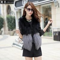 皮草马甲女短款新秋冬显瘦时尚韩版羊羔毛滩羊拼接貉子狐狸毛外套
