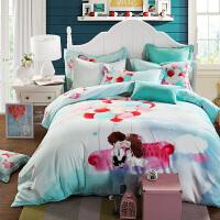家纺全棉加厚磨毛四件套纯棉春秋保暖被套床单套件双人1.5/1.8m床用