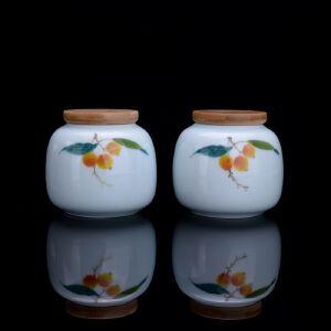 青釉手绘硕果茶叶罐茶叶罐