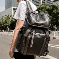 双肩包男士韩版休闲旅行背包男电脑包大学生书包男时尚潮流 (骑士黑)+收藏加购 优先发货