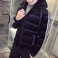 冬款新款男士连帽棉衣丽丝绒外套青年学生修身韩版面包服时尚棉袄