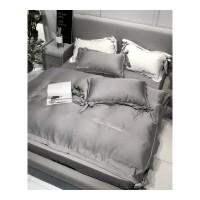 夏季天丝四件套双面冰丝床上用品纯色简约蝴蝶结床单被套丝滑裸睡
