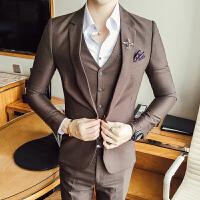 秋季男士西服套装商务职业三件套青年修身小西装新郎结婚礼服 咖啡色(西服+裤子=两件套) (M)适合105斤左右