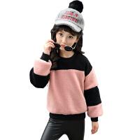 2017新款女童加绒加厚卫衣韩版 儿童冬季保暖长袖秋款大童12-15岁 粉红色 加厚不加绒卫衣