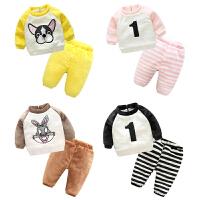 女婴儿衣服3个月男宝宝加绒加厚外套装秋冬季卫衣