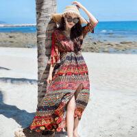 香衣宠儿 2018夏季雪纺连衣裙 碎花长裙 波西米亚沙滩裙子 2177-1896