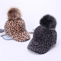 �H子款秋冬季帽子豹�y�R海毛棒球帽女毛球��舌帽�和�保暖女�W生潮