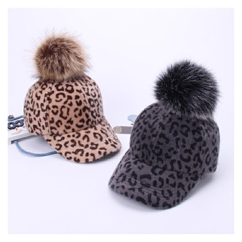 亲子款秋冬季帽子豹纹马海毛棒球帽女毛球鸭舌帽儿童保暖女学生潮