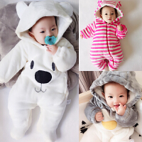男婴儿连体衣服加厚新生儿宝宝外出冬季6新年冬装3套装棉衣0个月
