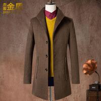 男款毛呢大衣中长款潮韩版修身冬季帅气百搭韩国新款呢子外套 卡其 0/M