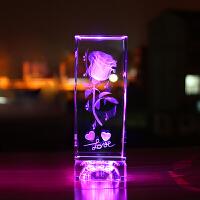 水晶玫瑰花创意送男女朋友老婆3D内雕照片摆件生日结婚七夕情人节