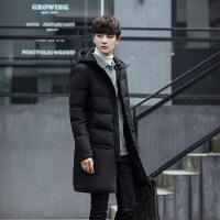 新款男士连帽中长款男士棉衣学生外套