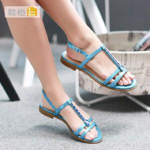 达芙妮旗下SHOEBOX/鞋柜水钻平底绑带防滑平跟女凉鞋