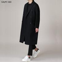 秋冬季毛呢大衣男中长款青年韩版呢子大衣男士羊绒大衣男宽松外套 灰色 小码