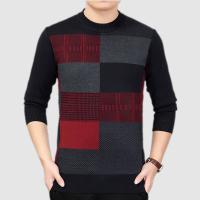 秋冬季新款中老年男士毛衣圆领针织衫中年套头爸爸羊毛衫加厚保暖