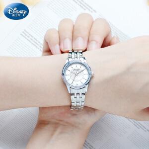 迪士尼手表女学生时尚潮流少女中学高中生女表水钻钢带防水石英表