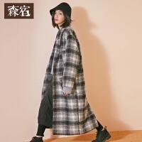 森宿习惯性怀旧冬新款文艺格纹后开衩长款长袖毛呢外套