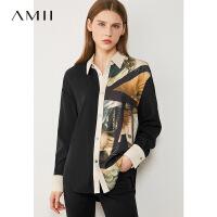 Amii�O�文��团d印花雪��r衫2020年新款薄款外穿�r衣�L袖上衣女