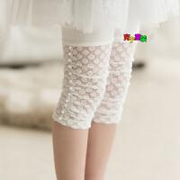 2018夏季新款韩版童装女童蕾丝打底裤薄款蕾丝儿童七分裤五分裤