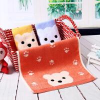 3条装柔软竹纤维毛巾儿童洗脸家用长方形千维毛巾小 小熊3条装(默认每个颜色一条) 50x25cm