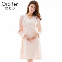 商场同款 欧迪芬 女士家居服长袖连体睡衣蕾丝纯色睡裙OH7632