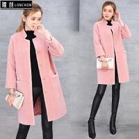 皮毛一体外套女士新款皮草2017冬季韩版处理大衣羊剪绒中长款显瘦
