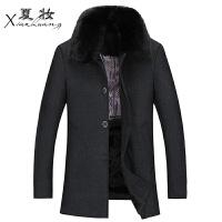 夏妆秋冬中年男士羊毛呢大衣男大码中长款毛呢外套中老年加厚毛呢风衣 黑色 脱卸毛领