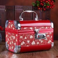 铝合金首饰盒结婚礼物创意现代手饰盒新娘饰品收纳盒梳妆盒 首饰盒_红色金心(圆角款)