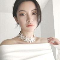 韩国新款超美复古镶珍珠编织花朵夸张甜美短款项链颈链脖链项圈女