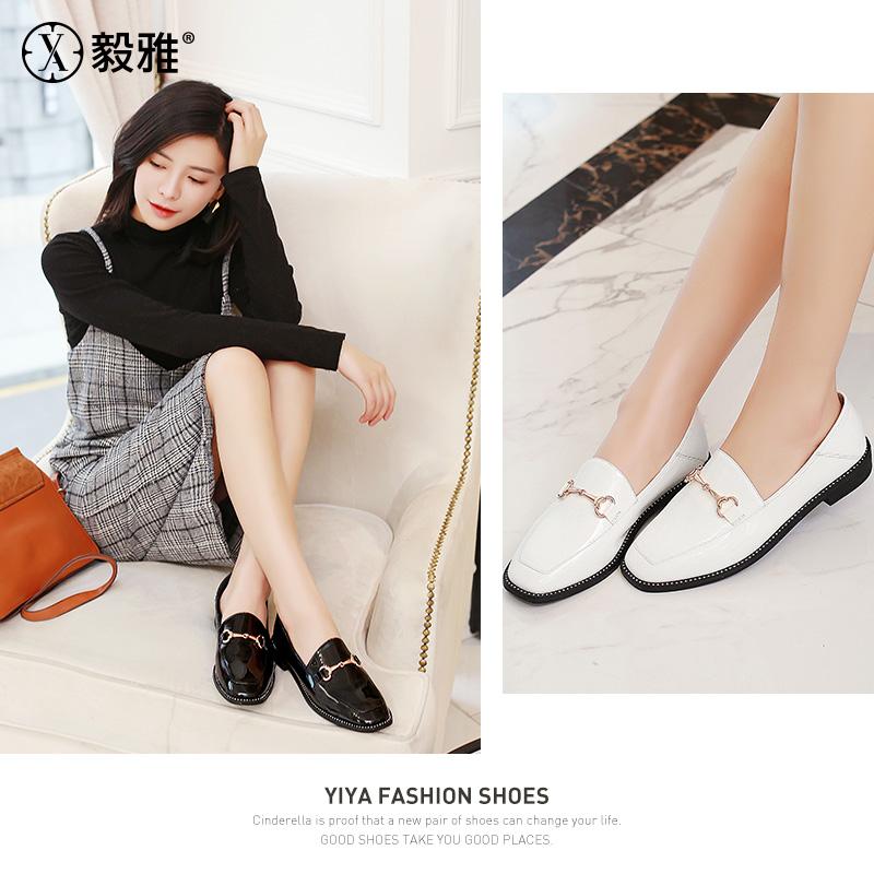 【毅雅 】2018年春款新款单鞋女休闲平底低跟方头金属扣女鞋  YD8WB1568