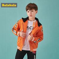 巴拉巴拉儿童外套男童棒球服秋装2018新款中大童时尚连帽印花外衣