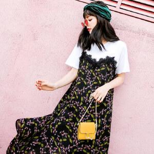 七格格蕾丝雪纺连衣裙女假两件2018春装新款韩版宽松套头碎花短袖裙子潮