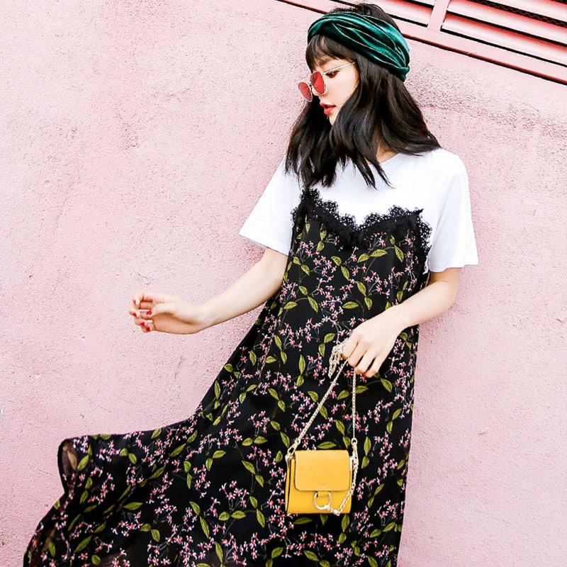 七格格蕾丝雪纺连衣裙女假两件春装新款韩版宽松套头碎花短袖裙子潮