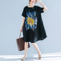 夏装新款欧美风女装宽松大码圆领短袖上衣t恤显瘦中长款连衣裙子