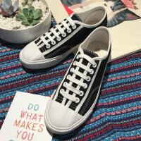 2018夏季糖果色帆布鞋女低帮系带学生单鞋韩版平底