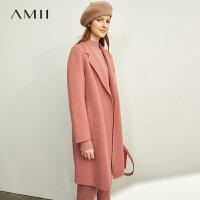 【到手价:558元】Amii极简高端英伦全羊毛双面呢女2019冬季新款配腰带开衩宽松外套