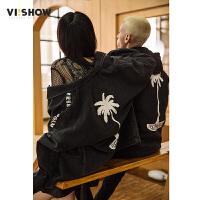 VIISHOW夹克衫男士潮牌牛仔夹克2018春季新款外套韩版宽松上衣